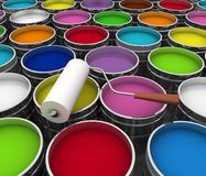 Open buckets with a paint and roller Royalty Free Stock Images