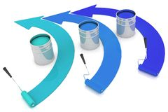 Open buckets with a paint and rollers. 3d illustration on white background Royalty Free Stock Photography