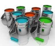 Open buckets with a paint and rollers Royalty Free Stock Images