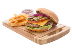 Open burger with cutlet, french fries, cheese Stock Photos
