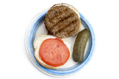 Open burger with pickles stock photos