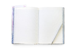 Open business diary with pen and euro note Royalty Free Stock Images