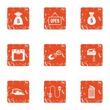 Open business icons set, grunge style. Open business icons set. Grunge set of 9 open business vector icons for web isolated on white background Stock Photography