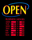 Open business neon. Sign with weekly opening hours Stock Photo