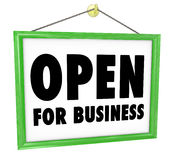 Open for Business Sign Hanging Store Window Door Royalty Free Stock Photos
