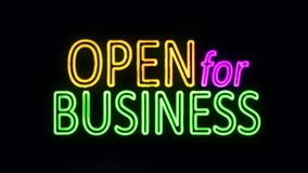 Open For Business Sign in Neon Style Turning On