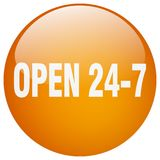 Open 24 7 button. Open 24 7 round button isolated on white background.  open 24 7 Stock Photo