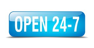 Open 24 7 button. Open 24 7 square 3d realistic isolated glass web button. open 24 7 Stock Image