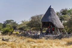 Free Open Cabin For Wildlife Watching In Okaukuejo Waterhole In Etosha National Park. Royalty Free Stock Photo - 159627385