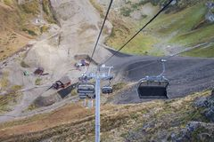 Mountain cable car. stock images
