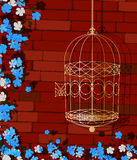 Open cage. Background illustration of a golden bird cage and flowers Stock Photography