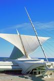 Open calatrava wings. Milwaukee wisconsin united states of america the ultra modern and geometric open white bird like wings of an Art Center building addition Royalty Free Stock Photos