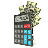Open calculator and dollar,  white background, 3d Royalty Free Stock Images