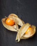 An open calyx, exposing the ripe fruit of physalis peruviana. On a dark black vintage plate Stock Image
