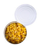 Open can with corn Royalty Free Stock Images