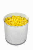 Open can of corn over white background_upd Stock Photography