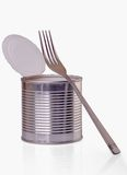 Open a can with  fork Royalty Free Stock Image