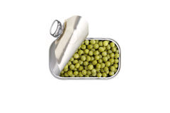 Open can of green pies isolated royalty free stock photo