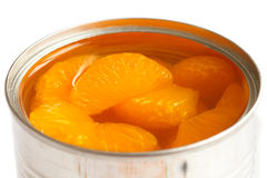 Open can of mandarins. Royalty Free Stock Photo