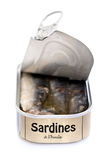 Open can of sardines Royalty Free Stock Images