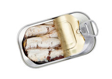 Open can of sardines in oil Stock Photos