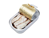 Open can of sardines in oil Royalty Free Stock Photo