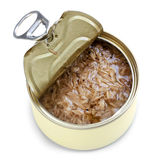 Open Can of Tuna Isolated. Open can of tuna, isolated on white Stock Images