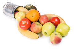 Open Can With Fruits Stock Image