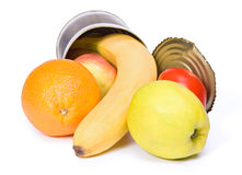 Open Can With Fruits Royalty Free Stock Photography