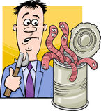 Open can of worms saying cartoon. Cartoon Humor Concept Illustration of Open Can of Worms Saying or Proverb Royalty Free Stock Photo