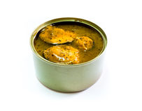 Open canned of tinned fish on  background, canned foods Stock Image