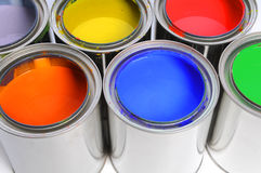 Open Cans of Paint. In close up view stock photos