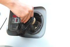 Open the cap of fuel tank Stock Photos