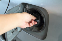 open the cap of fuel tank Royalty Free Stock Photography