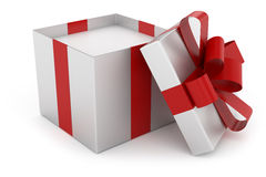 Open cap of silver gift box Stock Photography