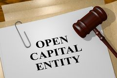 OPEN CAPITAL ENTITY concept. 3D illustration of OPEN CAPITAL ENTITY title on legal document royalty free illustration