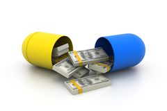 Open capsule with money stock illustration