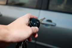 Open car door with remote control Stock Images