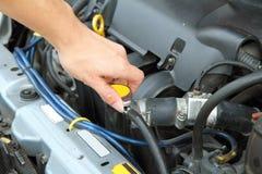Open the car radiator valve Royalty Free Stock Photos
