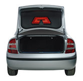 Open car trunk. Rear view of a car with an open trunk, good for travel concepts Stock Images