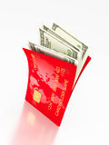 Open card and dollars. Money concept Royalty Free Stock Images