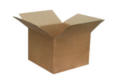 The open cardboard box. Is isolated on a white background Stock Image