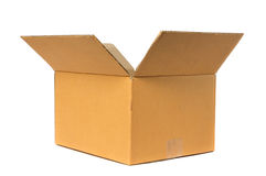 Open Cardboard Box. Container deliver and moving in isolated Stock Photos