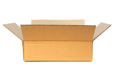 Open Cardboard Box. Container deliver and moving in isolated royalty free stock photography
