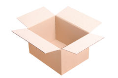 An open cardboard box. Isolated on white stock images
