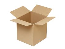 Open cardboard box. Open cardboard box isolated on the white background Royalty Free Stock Image