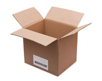 Open cardboard box with a bar code Royalty Free Stock Images