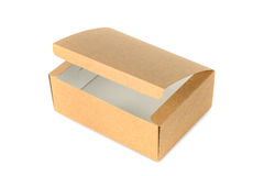 Open cardboard Box or brown paper box isolated with soft shadow Stock Photography