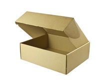 Open cardboard box with a clipping path Royalty Free Stock Images