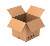Open cardboard box concept illustration. Open 3d illustration isolated on white background Stock Image